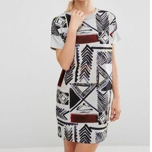 French Connection Empire Grid Print T-Shirt Dress